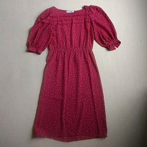 Vintage tea length cranberry dress